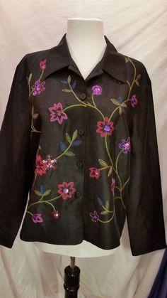 Vintage S.L.B.Button down Jacket  Black Silk Embellished  Floral Long Sleeve 12 #SLB #SilkJacket