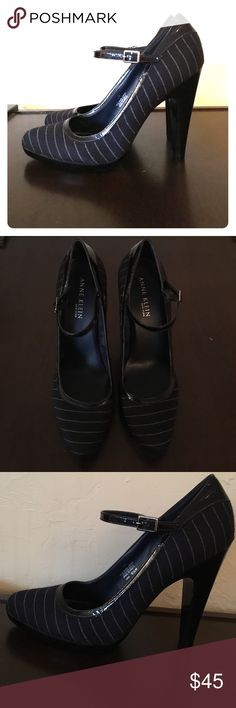 Pin-stripe Anne Klein Pumps Super cute dark blue pin-stripe pumps, with black patent leather straps. Very slight wear on the soles. Open to offers! Anne Klein Shoes Heels