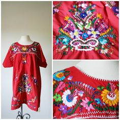 vintage 70s red FOLK boho MEXICAN floral by PasseNouveauVintage, $26.00