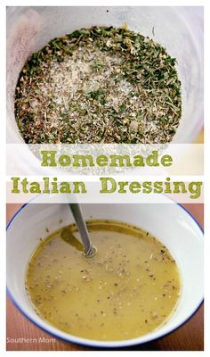 Homemade Italian Dressing. You can actually make it yourself! Keep it in the pantry and use it whenever Italian dressing OR Italian dressing mix (like in a lot of crockpot recipes) is called for. Homemade Italian Dressing, Italian Dressing Mix, Sweet Italian Dressing Recipe, Salad Dressing Recipes, Homemade Salad Dressings, Salad Dressing Homemade, Salad Recipes, Homemade Spices, Homemade Italian Seasoning