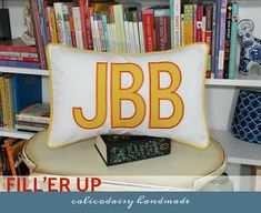 FILL'ER UP Large Applique Monogram Pillow Cover  12 x 18