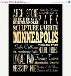 ON SALE Minneapolis Minnesota Typography Art by LegacyHouseArt, $39.95