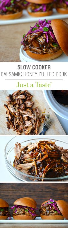 Slow Cooker Balsamic Honey Pulled Pork #recipe on justataste.com