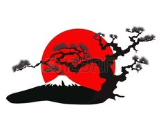 Illustration of the Japanese landscape silhouette vector art, clipart and stock vectors. Japan Illustration, Japanese Drawings, Japanese Tattoo Art, Landscape Silhouette, Silhouette Vector, Frida Art, Japanese Landscape, Samurai Art, Landscape Drawings
