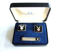 Cool Gift for Him! Playboy Bunny Cufflinks & Tie Bar Original Box Vintage Collectible Awesome Gift for Husband Memorabilia Gift for Him Christmas Gift