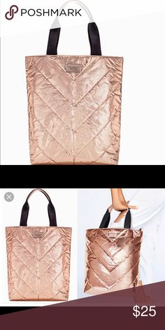 """NWOT Victoria's Secret Rose Gold Tote Never used, Limited edition rose gold tote. Metallic Nylon.      24"""" L x 18"""" W Victoria's Secret Bags Totes"""