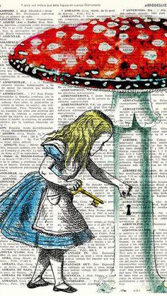 Alice in wonderland- Alice in Prrintland Alice in a tea cup- Alice in Wonderland Collage Print on Vintage Dictionary Bookart art Alice In Wonderland Party, Adventures In Wonderland, Book Page Art, Book Art, Art Beauté, Chesire Cat, Dictionary Art, Mad Hatter Tea, Through The Looking Glass