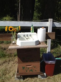 Barn wedding washing station