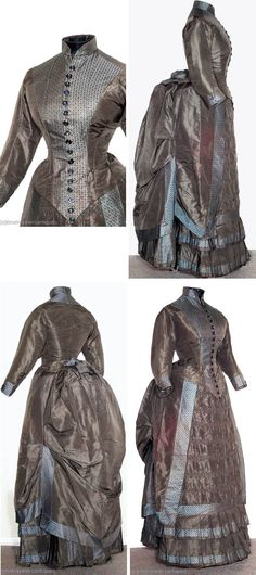 Day dress ca. 1882. Deep mocha silk satin with silk brocade panels, in 2 pieces. Skirt has ruched front panel, bunted bustle, & 2-tier pleated hem, & is lined in brown cotton.. Boned bodice closes in front with painted glass buttons and has bow at tail. Time Travelers Antiques/ebay via Extant Gowns