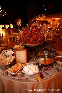 dessert station?  Fresh fruit kabobs, chocolate dipping sauce, etc. great for our CHRISTMAS CHOCOLATE FONDUE