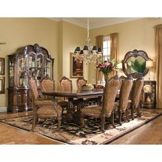 AICO Furniture - Windsor Court 10 Piece Rectangular Dining Room Set in Vintage Fruitwood - 70002T-54-10SET