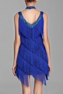 Sequined Tassel Choker Dress