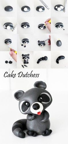 Raccoon Pictorial Tutorial for gum paste - Cake Dutchess - For all your cake… Polymer Clay Projects, Polymer Clay Charms, Polymer Clay Creations, Cake Dutchess, Fondant Toppers, Fondant Cakes, Cupcake Toppers, Decors Pate A Sucre, Decoration Patisserie