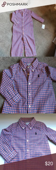 Ralph Lauren one piece I'm so sad my son never got to wear this beautiful orange, white, and blue button down one piece.  Perfect for any occasion💥if interested in multiple kid items please bundle then make me an offer, to help only have 1 shipping cost💥. Ready to get rid of these kids clothes!!! Ralph Lauren One Pieces