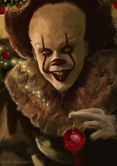Merry Christmas to all from Pennywise the Dancing Clown! Penny Wise Clown, Scary Witch, Creepy Clown, Clown Horror, Arte Horror, Horror Movie Characters, Horror Movies, Horror Film, Horror Photos