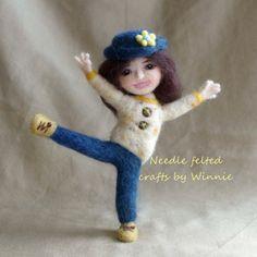 Needle felted doll Happy girl by FunFeltByWinnie on Etsy