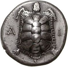 Island of Egina, Greece Silver Stater c. 325 BC and later. A I Tortoise. N I Incuse Square.Aegina lost its domination of the sea and in 457 BC was captured by Athens . The change of the numismatic type from sea- to land-turtle must have occurre Berlin Museum, Art Ancien, Coin Shop, Coin Art, Gold And Silver Coins, Antique Coins, World Coins, Rare Coins, Ancient Artifacts