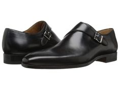 Magnanni Black Leather Monk Strap Oxfords