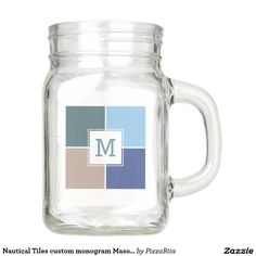 Nautical Tiles custom monogram Mason jars Mason Jar