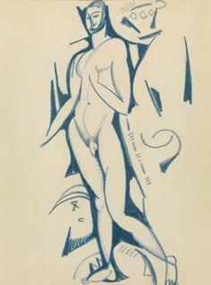 Estudo de nu masculino , c. 1912 Amadeo de Souza-Cardoso Modernisme, Sculpture, Figure Drawing, Figurative Art, Photos, Modigliani, Sketches, Drawings, Illustration