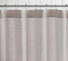 Sale $80 Belgian Flax Linen Hemstitch Shower Curtain #potterybarn