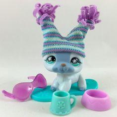 Littlest Pet Shop Blue German Shepherd #689 w/Snowboard, Hat & Accessories #Hasbro