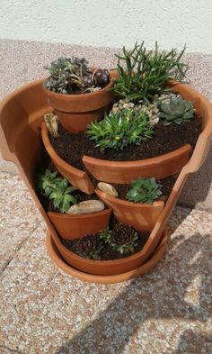 Miniature garden,broken pot