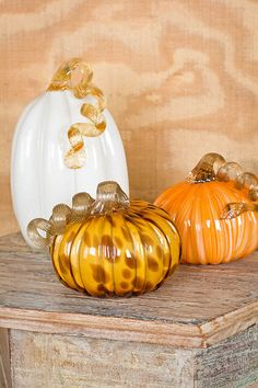 Glass Pumpkins are back- they're perfect seasonal decor (but we leave ours out year round)! #seasonal #decor #home