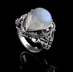 925 STERLING SILVER RAINBOW MOONSTONE NATURAL GEM HANDMADE MENS RING SIZE 8.25  #Unbranded