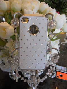 White Quilted with rhinestones Iphone4 by GlitzGlamourandBling, $12.00