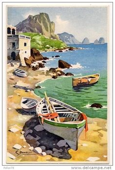 painting Silvio Bonelli Related posts:Boho Luxe Wedding Mallorca Finca CommasemaThe 20 Prettiest Places on Earth to Feed Your Wanderlust Watercolor Water, Watercolor Landscape Paintings, Landscape Art, Boat Art, Boat Painting, Seascape Paintings, Watercolor Illustration, Photo Art, Street Art