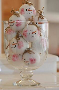 White Christmas ornaments made to look like snowmen faces.....Cute