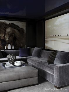 New England Home - Fantastic media room with glossy blue lacquer walls & ceiling, horse ...