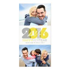 Bold Bright Hello 2016 Happy New Year Photo Card