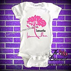 HANDMADE Personalized Name Flower Floral Pink Gray Flowers Girls Females Onesie Art Babies Baby Clothes Clothing Newborn Onesies Shower Gift gifts Diaper Cover Clothes