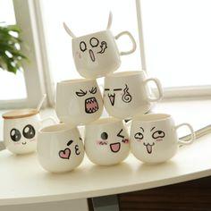 Cartoon tasse en céramique / lait tasse de café / ceinture cuillère tasse de tasse dans tasses de Maison & Jardin sur AliExpress.com | Alibaba Group