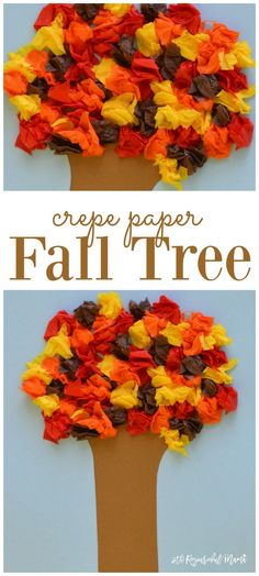 Kids explore texture and sound, develop fine motor skills, and have fun while making this easy crepe paper fall tree craft. leaves | preschool | kid craft