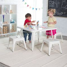 Classic Playtime Square Metal Table with Optional Stools - White - Get your child's creative juices flowing with the Classic Playtime Square Metal Table with Optional Stools - White. Constructed of durable metal...