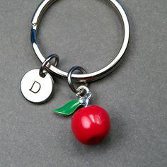 Apple keychain Red apple keychain red apple by chrysdesignsjewelry