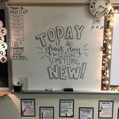When you leave the board up from Friday. you just erase part and reuse it again! Classroom Whiteboard, Classroom Setup, Future Classroom, Classroom Organization, Classroom Management, Classroom Walls, Classroom Design, 5th Grade Teachers, 5th Grade Classroom