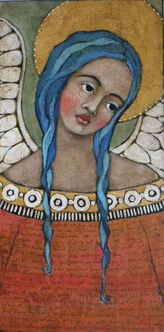 print on wood 13 blue haired angel with scripture by janespakowsky