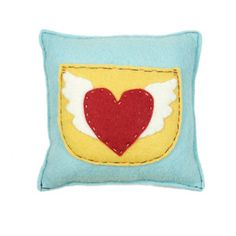 heart with wings felt pillow