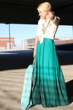 boho skirt, statement necklace, plain  jane top,