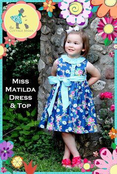 Miss Matilda Dress and Top Pattern from The Cottage Mama. www.thecottagemama.com #thecottagemama #girlsdress #sewing