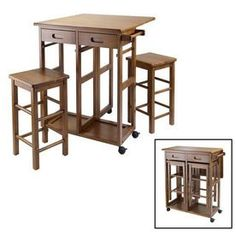 Winsome Wood�29.61-in L x 29.13-in W x 32.76-in H Teak Kitchen Island with Casters