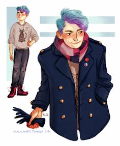 Blue hair (OC) 2 by Natello on DeviantArt Harry Potter Fan Art, Harry Potter Fandom, Character Concept, Character Design, Teddy Lupin, Harry Potter Next Generation, Fanart, Blue Hair, Hogwarts
