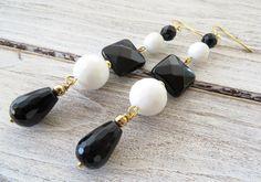 Black onyx earrings white agate earrings drop earrings