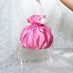 Pink satin pompadour purse evening handbag wristlet drawstring reticule by…