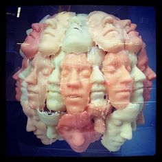 Wax faces sculpture
