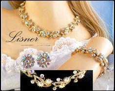 Lisner AB Rhinestone Necklace Bracelet & Earrings Set, Aurora Borealis Full…